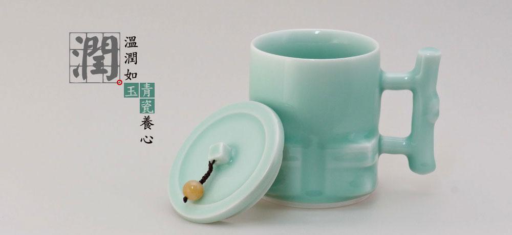 茶道走廊(壺、杯)玉砂青瓷